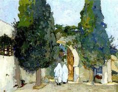 Algérie - Peintre Français Léon CAUVY (1874-1933), Huile sur carton, Titre: Algeriennes à l'entrée d'El Kattar à Alger