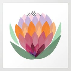 South African King Protea flower Art Print by nadeznas South African Flowers, African Love, African Babies, South African Art, Protea Art, Protea Flower, African Drawings, Flower Symbol, Lake Art