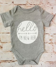 Hello I'm New Here Onesie - Gray (Infant)