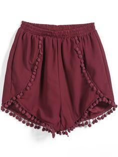 Pom Shorts maroon Red Elastic Waist Twisted Ball Embellished Shorts US$19.25