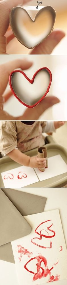 Toilet Paper Roll Crafts - Kids Kubby - Never too young for some fine motor crafts // free crafts for kids, toddler crafts, visual motor pl - Valentine Love, Valentine Day Crafts, Holiday Crafts, Kids Valentines, Toddler Crafts, Preschool Crafts, Toilet Paper Roll Crafts, Paper Crafts, Diy Paper
