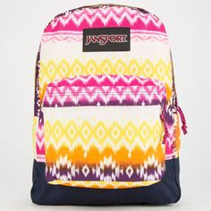 JanSport Superbreak Backpack ($36) ❤ liked on Polyvore featuring bags, backpacks, cyber pink tribal ombre, tribal bag, strap backpack, jansport backpack, pink backpack and polyester backpack