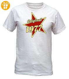 Jahrgang Shirt - Original 1977 auf Stern - bedrucktes T-Shirt mit lustigem Motiv als Geschenk zum Geburtstag in Weiss, Größe:3XL (*Partner-Link)