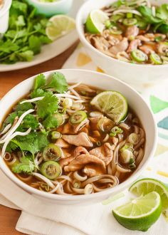 Vietnamese beef noodle pho is an easy soup to fall in love with. Those chewy noodles. That savory broth. The tender slices of beef. All those crunchy, spicy, herby garnishes that we get to toss on top(Soup Recipes For Sick) Pho Bowl, Soup Recipes, Cooking Recipes, Cooking Bacon, Diet Recipes, Beef And Noodles, Rice Noodles, Soups And Stews, Ramen