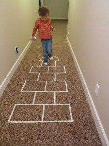 Indoor Family Activities ~ Just Add Masking Tape and you have Hopscotch for rainy day fun, plus other indoor games. Indoor Family Activities, Rainy Day Activities, Indoor Activities For Kids, Summer Activities, Outdoor Activities, Rainy Day Fun, Rainy Days, Kids Crafts, Baby Kind