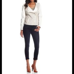 SALE TODAY ONLY!ELEGANT CREAM MOTO JACKET!  GORGEOUS MOTO JACKET has Faux Leather Sleeves & is Fully Lined! Jackets & Coats