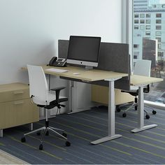 Ratio makes integrating height-adjustability simple and affordable. Open Office, Office Desk, Adjustable Height Desk, Office Storage, Open Plan, Storage Solutions, Office Furniture, Corner Desk, Building