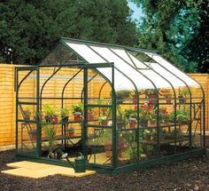 14x8 Green Frame Curved Roof Toughened Glass Greenhouse & Base - Home Delivered, 70290