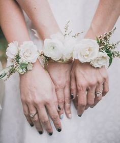 Greenery White Wedding Inspiration Leafy Green corsages - Greenery corsages - Rose Floral Wedding corsages - - Wedding colors - wedding color palettes - wedding color ideas - Greenery wedding ideas - Green and White wedding Bridesmaid Corsage, Wedding Bridesmaids, Wedding Bouquets, Wedding Corsages, Bridesmaid Ideas, Bridesmaid Bracelet, Bridal Bracelet, Flower Bracelet, Bridesmaid Flowers