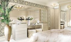 Lidia Bersani / Luxury Interior - modern bedroom, commode with big mirror and round poufs, white fox plaid on the bed,