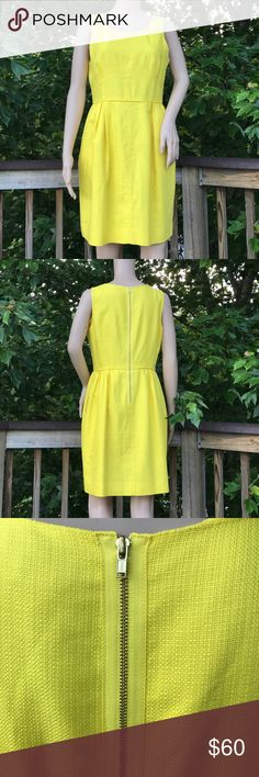 J. Crew Lemon Yellow Sleeveless Stunner Size 8 J. Crew Lemon Yellow Sleeveless Stunner Size 8 - You'll love it! Quintessential J. Crew styling and craftsmanship! The all important pockets! Grosgrain ribbon accents the exposed back zipper. Like-new condition. How can you do Summer without this dress? The answer? You can't!! J. Crew Dresses