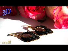 Black&Gold Beaded Earrings. 3D Beading Tutorial - YouTube