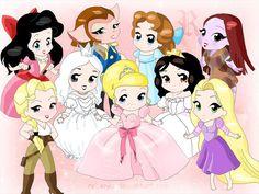Disney Leading Ladies - chibi - Disney Leading Ladies Fan Art (17290987) - Fanpop fanclubs