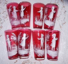 ANTIQUE ~MARY GREGORY~ CRANBERRY WHITE ENAMEL GLASS TUMBLERS(8) VICTORIAN CHILD