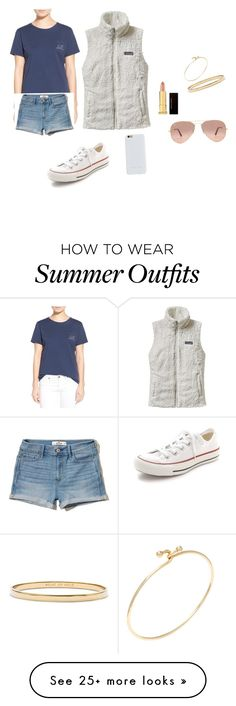 """""""summer outfit"""" by rileybensman on Polyvore featuring Vineyard Vines, Hollister Co., Patagonia, Converse, Felony Case, Kevyn Aucoin, Tiffany & Co., Kate Spade and Ray-Ban"""