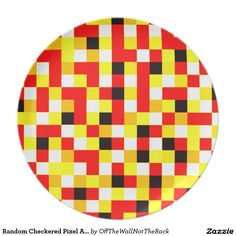 Random Checkered Pixel Art - Red & Yellow Dinner Plate