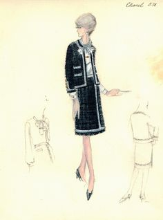 Chanel outfit from 1965. (Source: Bergdorf Goodman Custom Salon sketch collection, 1930-1969.)