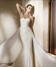 $169.99 Pure White Sweetheart Chiffon Mermaid Strapless Ruched Satin Chapel Train Wedding Dress for Brides In Canada Wedding Dress Prices MW-052 - ca-bridals.com