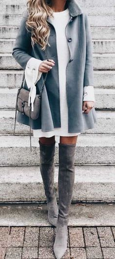 ⭐️ Bella Montreal ⭐️ Insta: bella.montreal || Pinterest & WeHeartIt: bella4549 || Pretty winter fashion, dusty blue coat, grey high boots, cute purse, style, modern, classy