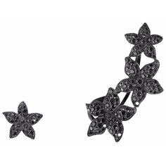 Runa Jewelry Flower Mismatched Black Diamond Ear Cuff And Earring (322,655 PHP) ❤ liked on Polyvore featuring jewelry, earrings, black gold, black diamond stud earrings, floral jewelry, studded jewelry, earrings jewelry and flower earrings