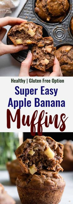 These Apple Banana Muffins are the perfect mash up of two fruits! Full of natural sweetness, a hint of spice, and easily made gluten free! | #FoodFaithFitness | #muffins #apple #banana #glutenfree #healthy