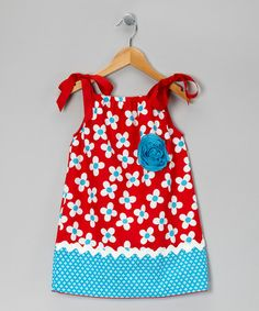 Take a look at this Red & Blue Flowers Dress - Toddler & Girls by Million Polkadots on #zulily today!