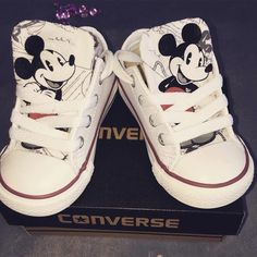 Mickey Mouse White Converse - genuine converse with mickey mouse customised tongue - http://progres-shop.com/mickey-mouse-white-converse/