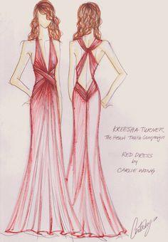 The Heart Truth Fashion Show Red Dress sketch by designer Carlie Wong, 2009.