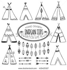 Hand drawn set of six wigwams with ornamental elements and a set of six arrows and eight leaf dividers. Teepee designs. Vector illustation isolated on background.