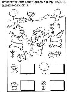 """Nosso Espaço da Educação: Projeto """"Os Três porquinhos"""" - 2 projetos, plano de aula, atividades manuais, atividades diversas, vídeos, música para baixar, lembrancinha. Nursery Worksheets, Math Worksheets, Preschool Education, Elementary Education, Holiday Homework, Three Little Pigs, Felt Decorations, Letters And Numbers, Coloring Pages For Kids"""
