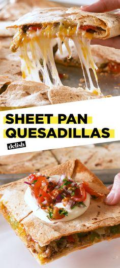 Sheet Pan Quesadillas are the most genius Cinco de Mayo hack EVER. Get the recipe at Delish.com. #recipe #easyrecipe #easy #quesadillas #cheese #beef #groundbeef #peppers #tortillas #mexican #hack #foodhack #lifehack #hacking #partyplanning #parties #cincodemayo