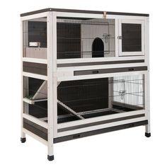 2 Floor Rabbit Hutch Small Pet Coop Wooden Indoor Rabbit Guinea Animal House New