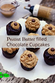 Peanut butter filled cupcakes Easy Chocolate Ganache Recipe #oxogoodcookies