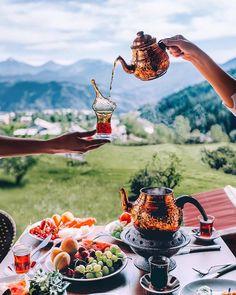 Turkish breakfast with tea in Karadeniz