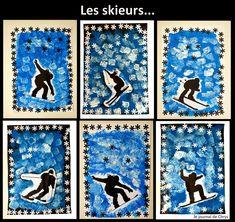 Le Journal de Chrys: Nos skieurs Winter Art Projects, School Art Projects, Theme Sport, Olympic Crafts, Classe D'art, 6th Grade Art, Jar Art, Middle School Art, Winter Trees
