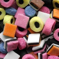Licorice Allsorts: a favorite English candy. If I remember correctly Mom favors the pink and blue ones with the tiny nonpareils.