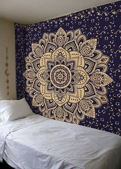 Blue Gold Tapestry Beautiful Decor Tapestry Home Decor Tapestry Wall Hanging Tapestry Bed Sheet Cover Mandala Tapestry Beach Tapestry Hippie Bedding, Tapestry Bedding, Tapestry Bedroom, Tapestry Wall Hanging, Hanging Art, Wall Hangings, Bohemian Wall Art, Bohemian Tapestry, Indian Tapestry