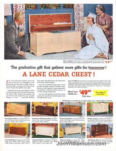 Lane Home Furnishings. Research Magazine Advertisements. The Best Resource on the Net of Vintage Ads! Lane Cedar Chests by… Vintage Advertisements, Vintage Ads, Vintage Posters, Retro Ads, Lane Furniture, Vintage Furniture, Rococo Furniture, Furniture Ads, Louis Vuitton Trunk