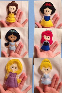 Princess finger puppets embroidered, puppet, kids, children, toys, games, make believe, pretend play, felt, classic princesses, story time - pinned by pin4etsy.com