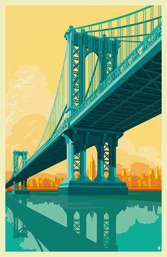 Illustration of the Manhattan Bridge in adobe illustrator CC / Project By  / Remko Heemskerk / Haarlem, Netherlands