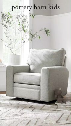 Designed with clean lines, square arms and a firm cushion, this rocker swivels smoothly and manually reclines so you can feed and snuggle with baby.