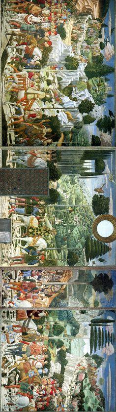 Procession of the Magi 1459-1461. Fresco. East wall of the chapel, Palazzo Medici-Riccardi, Florence, Italy - Benozzo Gozzoli