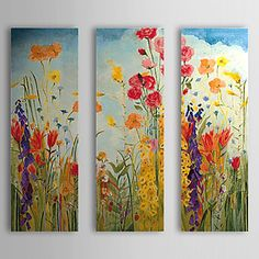 Hand Painted Oil Painting Floral with Stretched Frame Set of 3 1309C-FL0834 – USD $ 99.99
