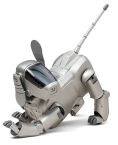 "Hajime Sorayama. Aibo Entertainment Robot (ERS-110). 1999. The Japanese word aibo, which means ""pal,"" is also an acronym of sorts for Artificial Intelligence Robot, an electronic pet released by Sony in 1999. This robot has the ability to react to its environment and learn: it is trainable, responds to touch, and is programmed to simulate the behavior of a living animal (sit, stay, come) and perform certain tasks, such as appointment reminders and e-mail notification."