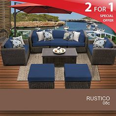 Rustico 8 Piece Outdoor Wicker Patio Furniture Set 08c *** To view further for this item, visit the image link.(This is an Amazon affiliate link and I receive a commission for the sales) #PatioFurnitureandAccessories