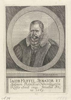 Johann Friedrich Leonard | Portret van Jacob Muffel, Johann Friedrich Leonard, 1669 | Portret van Jacob Muffel (1509-1569), senator te Neurenberg.