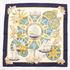 AT AUTHENTIC HERMES CARRE 90 SILK SCARF L'AIR MARIN BLUE NEVER USED #HERMES