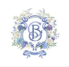 Wedding crest for a couple marrying in Portugal. Featuring blue and white tile patterns and hydrangea, orchids, and greenery. Monogram Wedding, Monogram Logo, Wedding Monograms, Monogram Letters, Custom Stationery, Custom Wedding Invitations, Watercolor And Ink, Watercolor Illustration, Decoupage