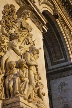 Stone Figures Carved on Arc De Triomphe, Paris, France