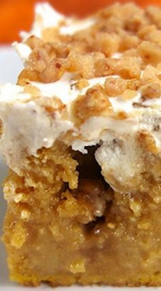 Pumpkin Spice Poke Cake ~ This cake is AH-MAZ-ING! It is heaven in your mouth... It is super moist and has great flavor